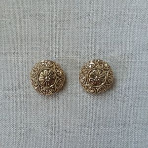 Vintage round gold tone clip-on earrings